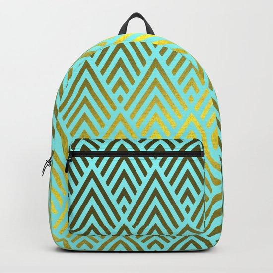 Gold foil triangles on aqua Backpack
