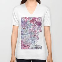 detroit V-neck T-shirts featuring Detroit map by MapMapMaps.Watercolors