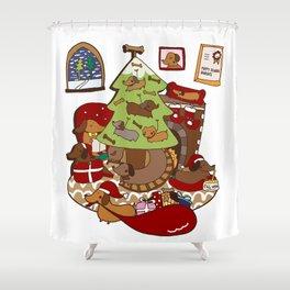 Weiner Christmas Shower Curtain