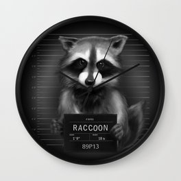 Raccoon Mugshot Wall Clock