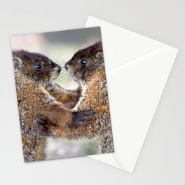 Watercolor Marmot 33, Forest Canyon Tundra, RMNP, Colorado, Sibling Rivalry Stationery Cards