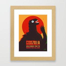 Godzilla Welcomes You to Monster Island, Gojira Framed Art Print