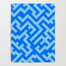 Baby Blue and Brandeis Blue Diagonal Labyrinth Poster