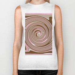 Pink and brown swirl pattern Biker Tank