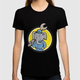 Elephant Mechanic Spanner Shoulder Circle Cartoo T-shirt