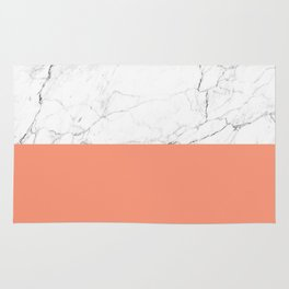 peach marble orange and white marble Rug