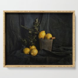 Cassic still life with lemons Serving Tray