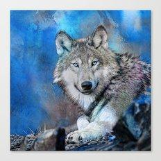 Blue Wolf Wildlife Mixed Media Art Canvas Print