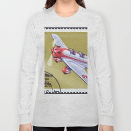 Postage stamp printed in Soviet Union shows vintage airplane Long Sleeve T-shirt