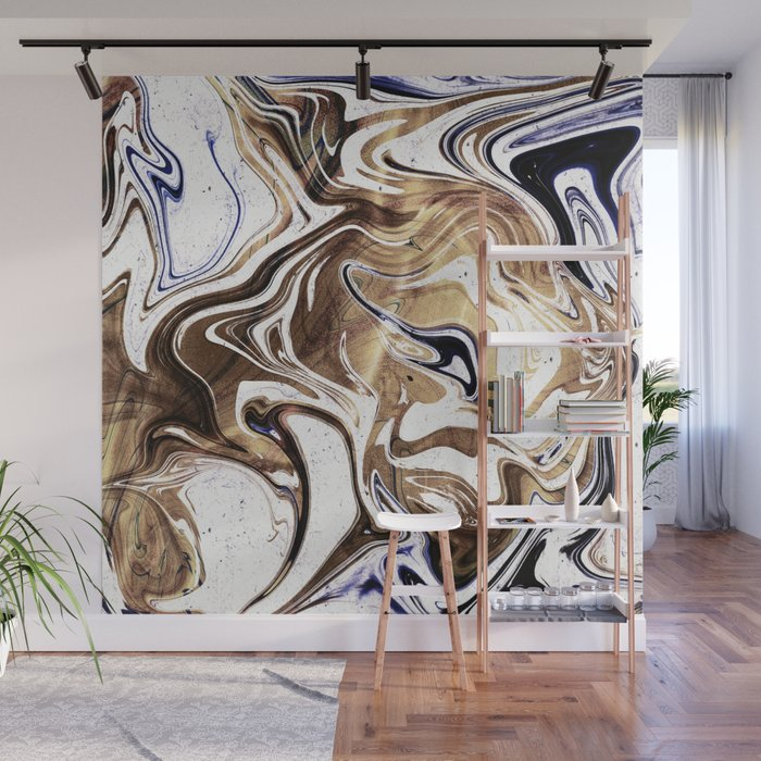 Metallic Gold Purple White Marble Swirl Wall Mural