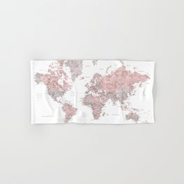 Wanderlust - Dusty pink and grey watercolor world map, detailed Hand & Bath Towel