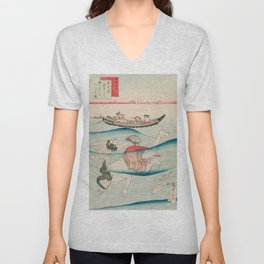Abalone Divers, Vintage Japanese Print Unisex V-Neck