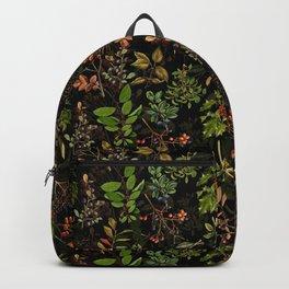 Vintage & Shabby Chic - vintage botanical wildflowers and berries on black Backpack