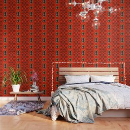 Ethnic lines in red Wallpaper