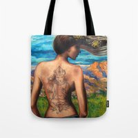 goddess Tote Bags featuring Goddess by Artist Andrea