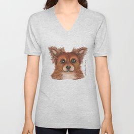 Alvin the Long-haired Chihuahua Unisex V-Neck