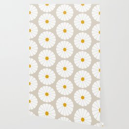 Minimal Botanical Pattern - Daisies Wallpaper