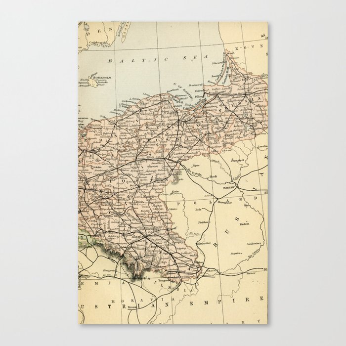 Map Of Germany To Print.Old Map Of Germany Canvas Print By Graphikz