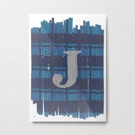 Winter clothes. Letter J. Metal Print