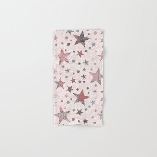 Pink Patchwork Stars Hand & Bath Towel