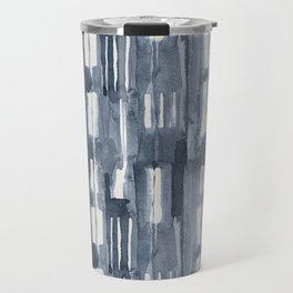 Simply Shibori Lines in Indigo Blue on Lunar Gray Travel Mug