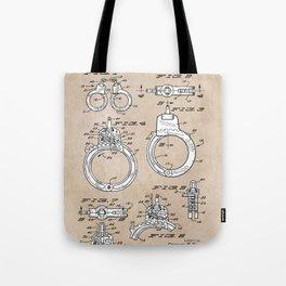 patent art Foley Secret Release Handcuffs 1966 Tote Bag