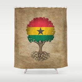 Vintage Tree of Life with Flag of Ghana Shower Curtain