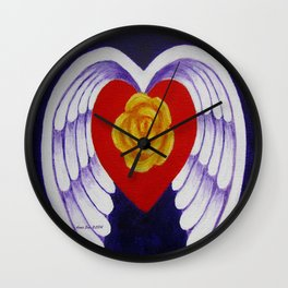 You Are My Angel With Heart Rose And Angel Wings By Annie Zeno Wall Clock