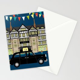 Art Print of Liberty of London Store - Night with Black Cab Stationery Cards