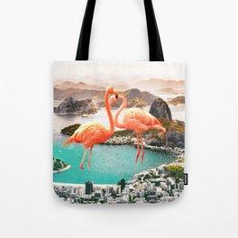 Collage, Flamingo, City, Creative, Nature, Modern, Trendy, Wall art Tote Bag