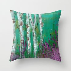 Birch Trees in a Lavender Field Throw Pillow