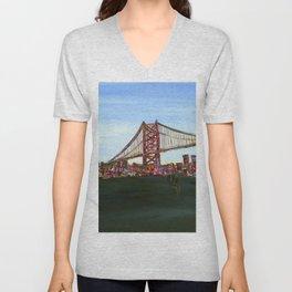 Ben Franklin Bridge Unisex V-Neck