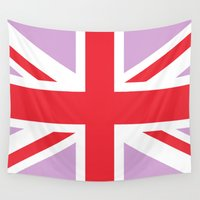 union jack Wall Tapestries featuring Red & Purple Union Jack by Alesia D