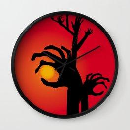 Halloween Raising Ghost Hands Wall Clock