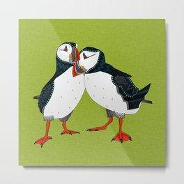 puffin pair lime Metal Print