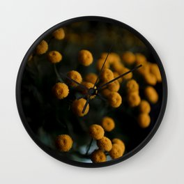 mustard yellow flowers Wall Clock