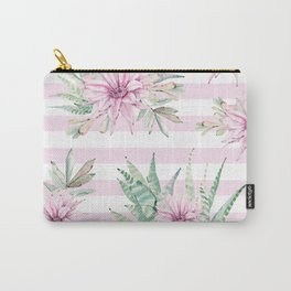 Rose Stripe Succulents - Pink and Mint Green Cactus Pattern Carry-All Pouch