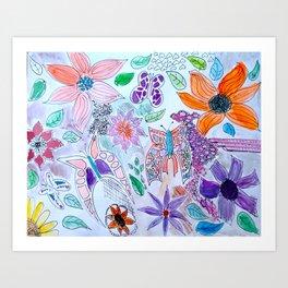 Flower Sketches 3 Art Print