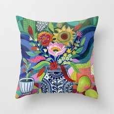 Late Summer Blooms Throw Pillow