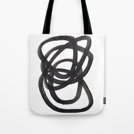 Black And White Minimalist Mid Century Abstract Ink Art Circle Swirls Black Circles Minimal Tote Bag