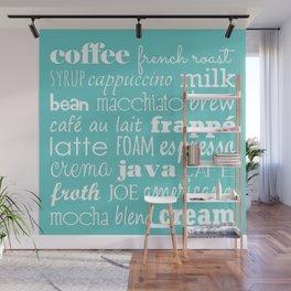 coffee, blue Wall Mural
