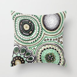 Green and Gold Rings Throw Pillow