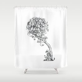 The Story Of Ferdinand (Psychedelic Bull Drawing) Shower Curtain