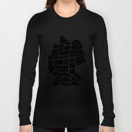 Germany Word Map - Black and White Long Sleeve T-shirt