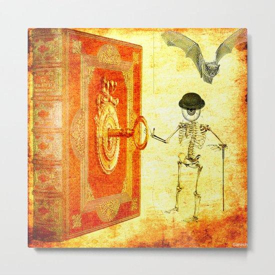 Monsieur Bone and the magic book Metal Print