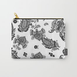 Paisley pattern in black and white Carry-All Pouch
