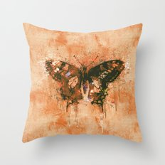 artistic watercolor butterfly painting artwork Throw Pillow