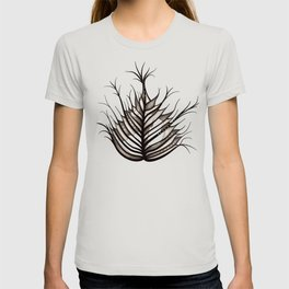 Abstract Hairy Leaf Art In Sepia T-shirt
