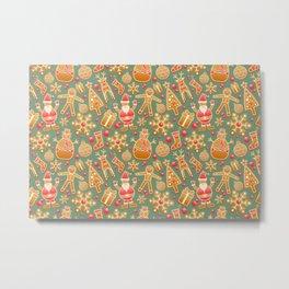 Gingerbread Christmas Pattern (Color) Metal Print