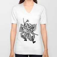 samurai V-neck T-shirts featuring Samurai by Scalifornian